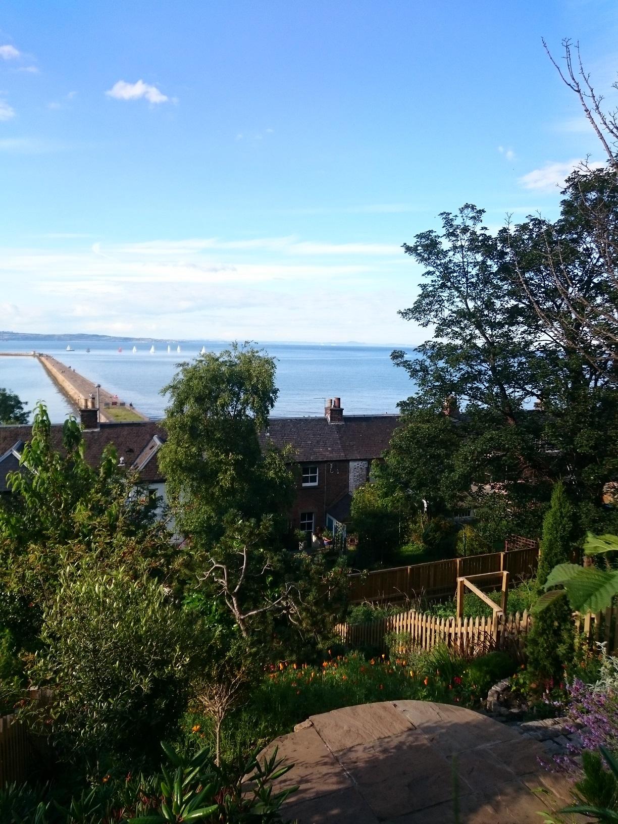 coastal patio with sea view Edinburgh
