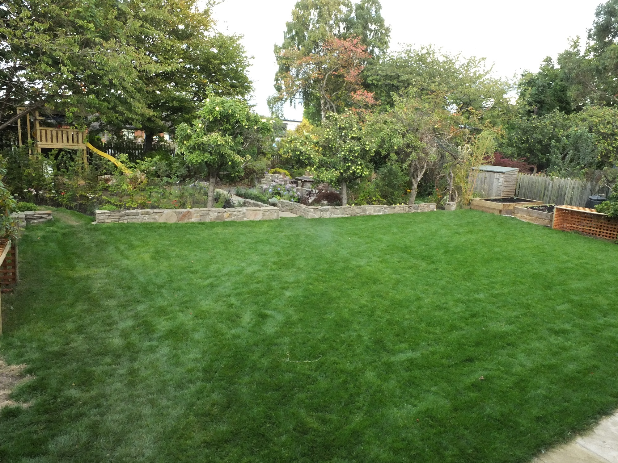 lawn and new gardenplay area Edinburgh